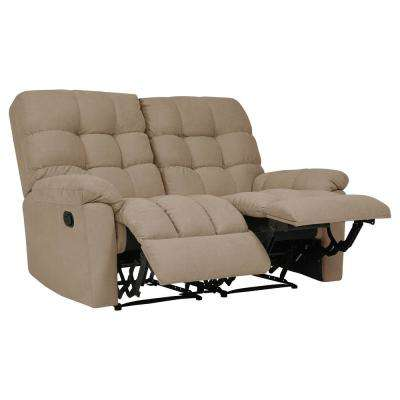 2-Seat Tufted Recliner Loveseat in Barley Tan Plush Low-Pile Velvet