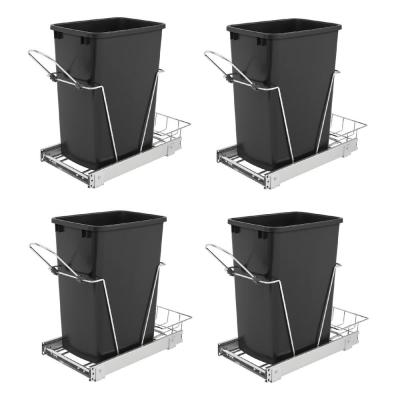 Single 35 Qt. Sliding Pull Out Waste Bin Container (2-Pack)