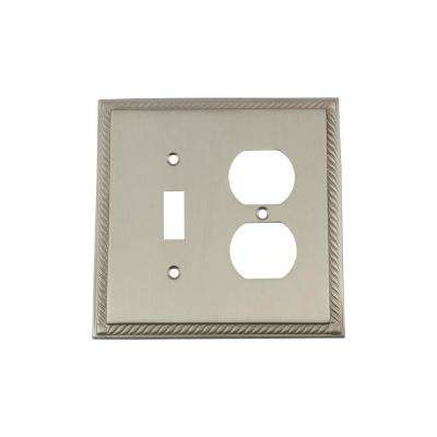 Rope Switch Plate with Toggle and Outlet in Satin Nickel