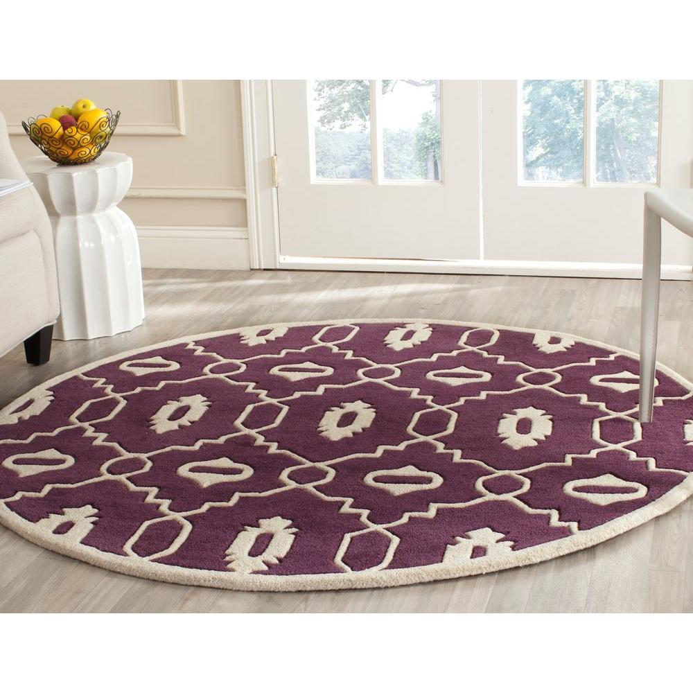 Chatham Purple/Ivory 5 ft. x 5 ft. Round Area Rug