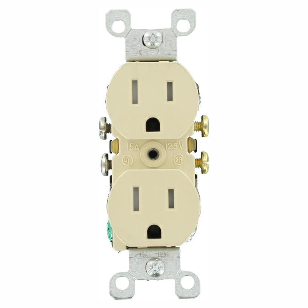 15 Amp Tamper Resistant Duplex Outlet, Ivory (10-Pack)
