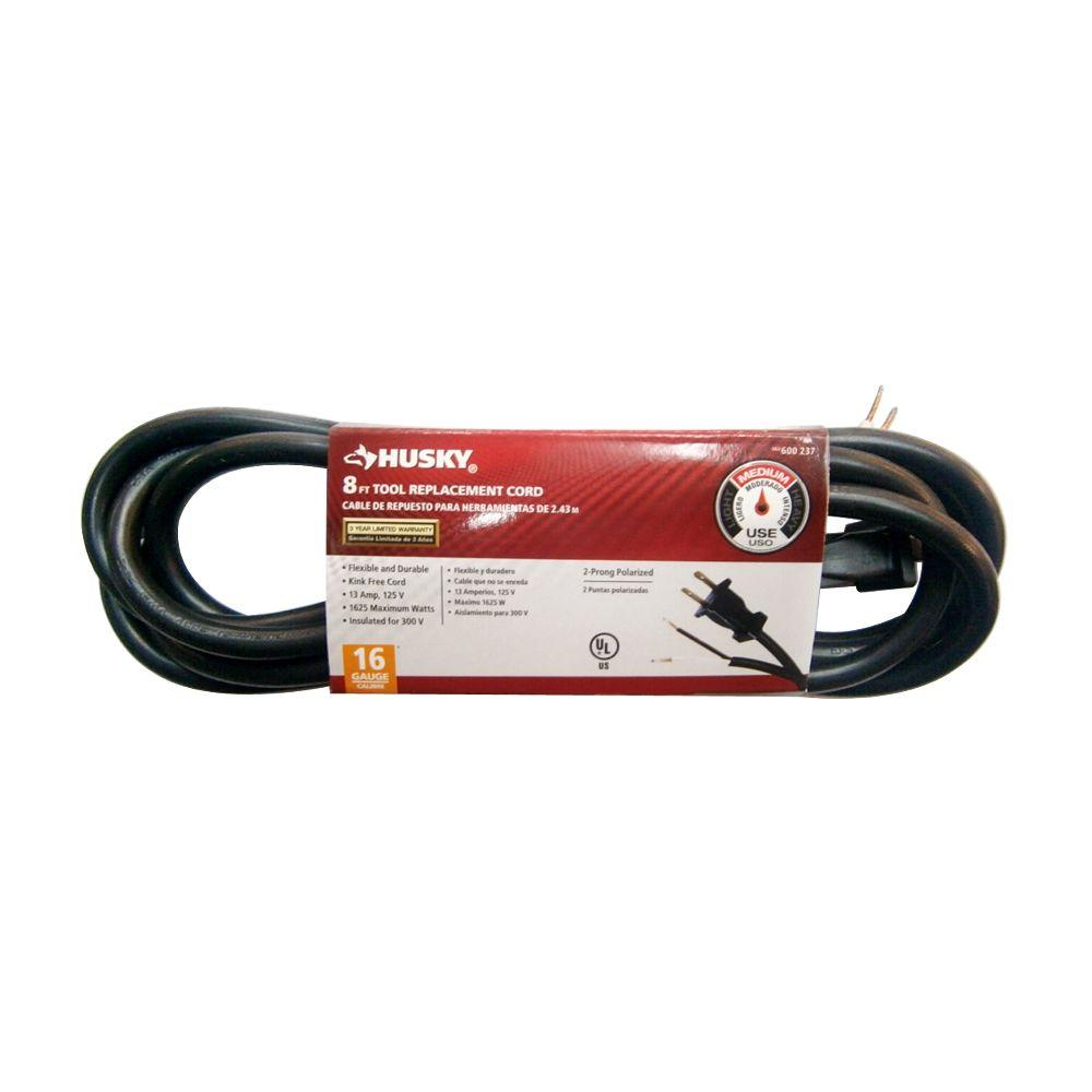 Husky 8 ft. 16/2 Power Tool Replacement Cord-AW62633 - The Home Depot