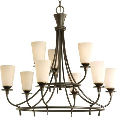 Cantata Collection 9-Light Forged Bronze Chandelier with Seeded Topaz Glass Shade