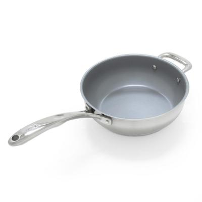 Induction 21 Steel 3 qt. Stainless Steel Ceramic Nonstick Saute Pan in Brushed Stainless Steel