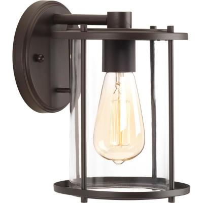 Gunther Collection 1-Light Antique Bronze 9.5 in. Outdoor Wall Lantern Sconce