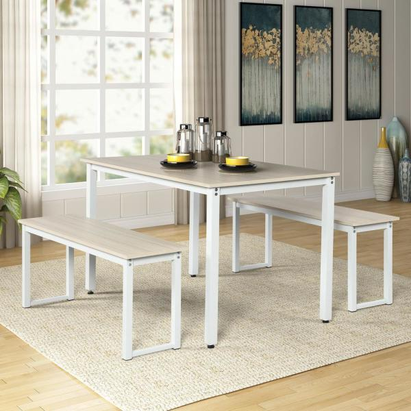 Walnut 3 Pieces Dining Set Wooden Dining Table With 2 Benches For Kitchen Dining Room Table And Chairs Set Home Furniture Home Kitchen Dining Room Furniture