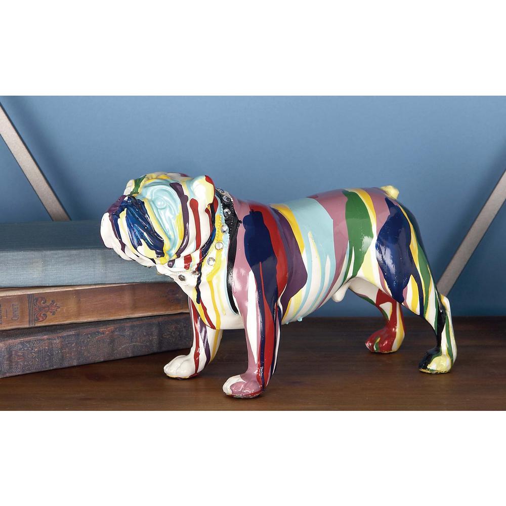 6 inch x 11 inch Decorative Bulldog Sculpture in Colored Polystone by