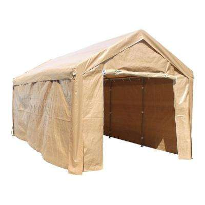 10 ft. W x 20 ft. D Beige Roof Heavy-Duty Carport