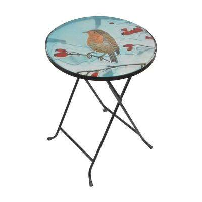 14 in. Multi-Color Handpainted Fusion Glass Planter Stand/Side Table