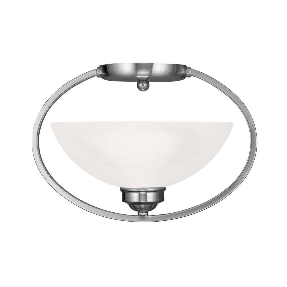 Livex Lighting Providence 1-Light Ceiling Brushed Nickel Incandescent Semi-Flush Mount