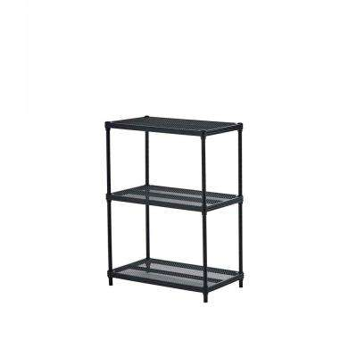 MeshWorks 3-Shelf Metal Black Freestanding Shelving Unit