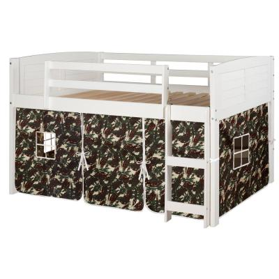 White Twin Louver Low Loft Bed with Camo Tent