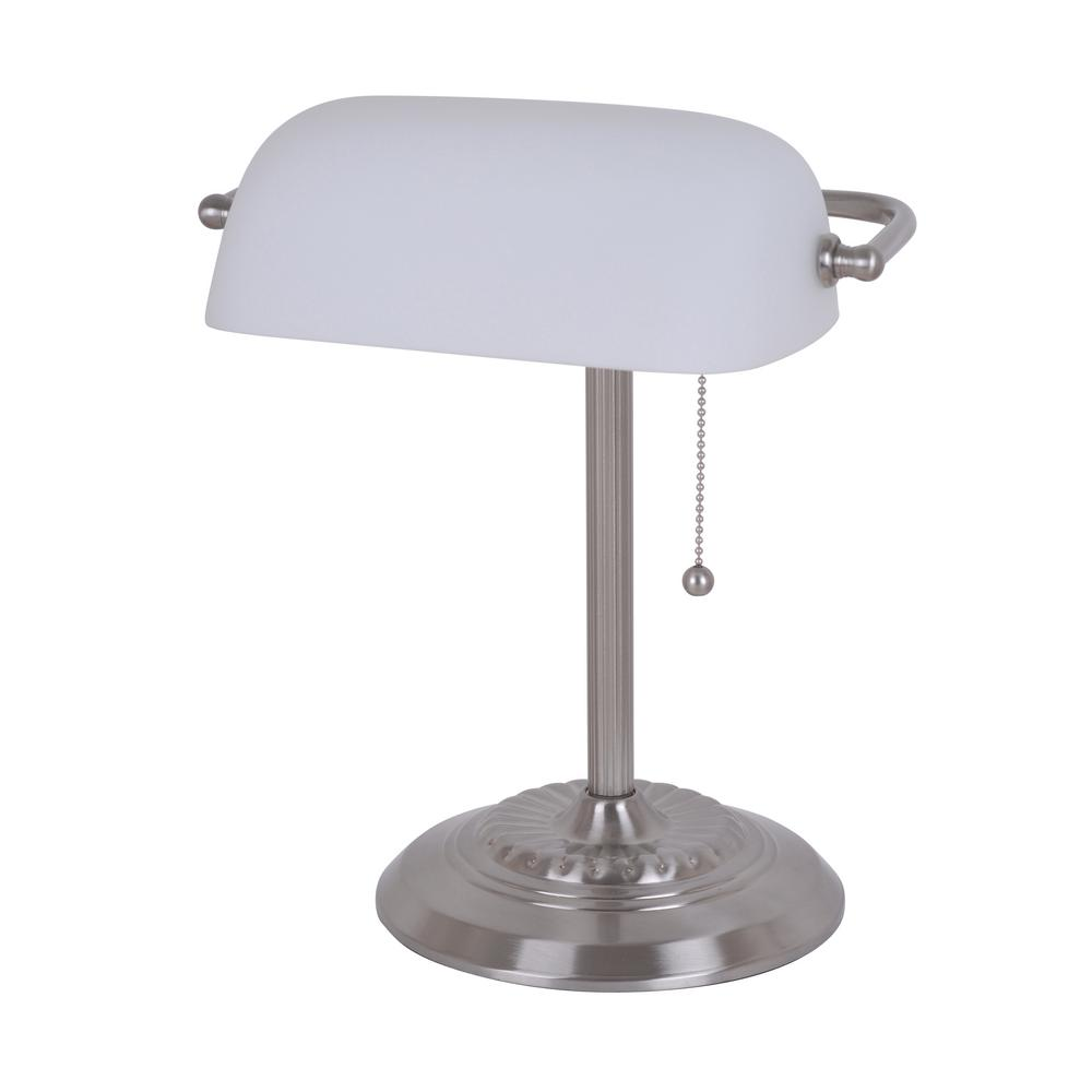 14.5 in. Silver Banker's Desk Lamp with White Shade