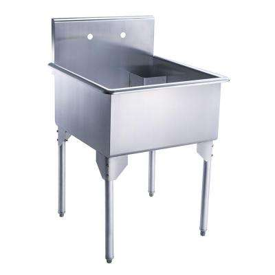 Pearlhaus All-in-One Freestanding Stainless Steel 27-1/8 in. 2-Hole Single Bowl Kitchen Sink in Brushed Stainless Steel