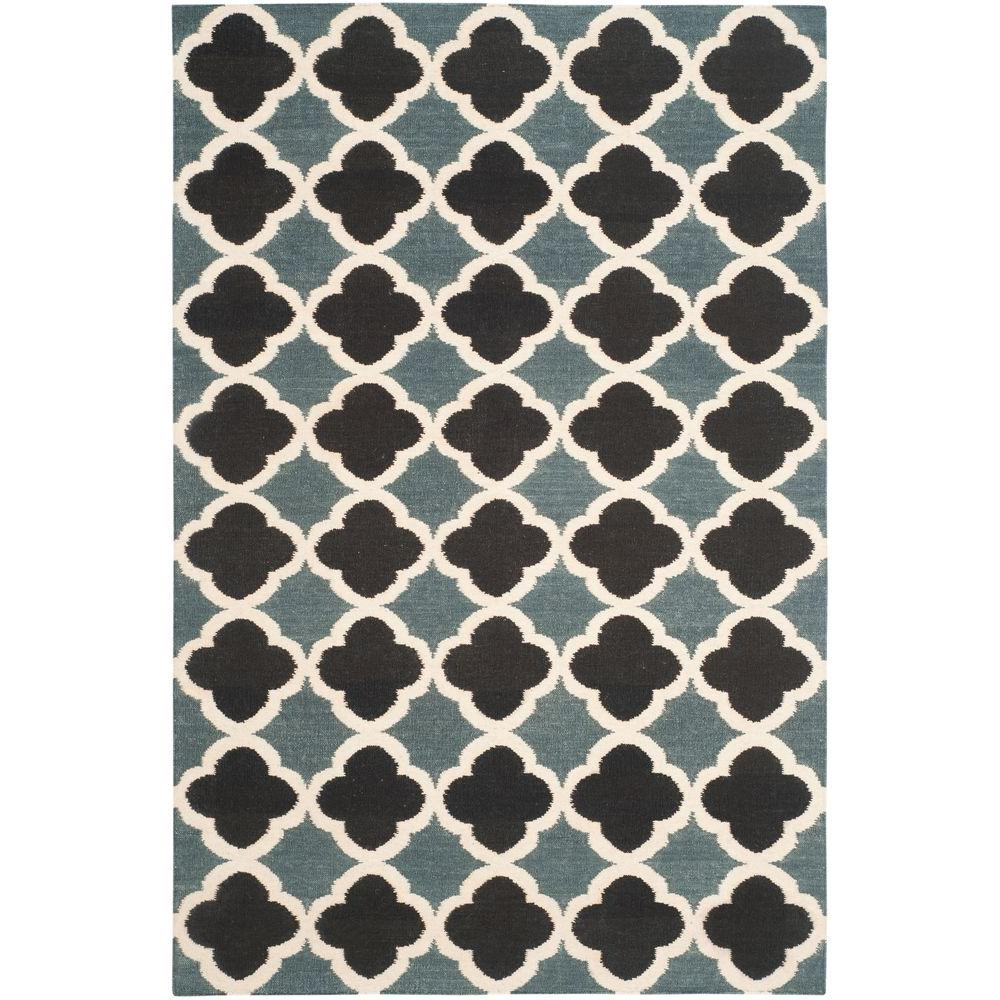Dhurries Blue/Navy 5 ft. x 8 ft. Area Rug
