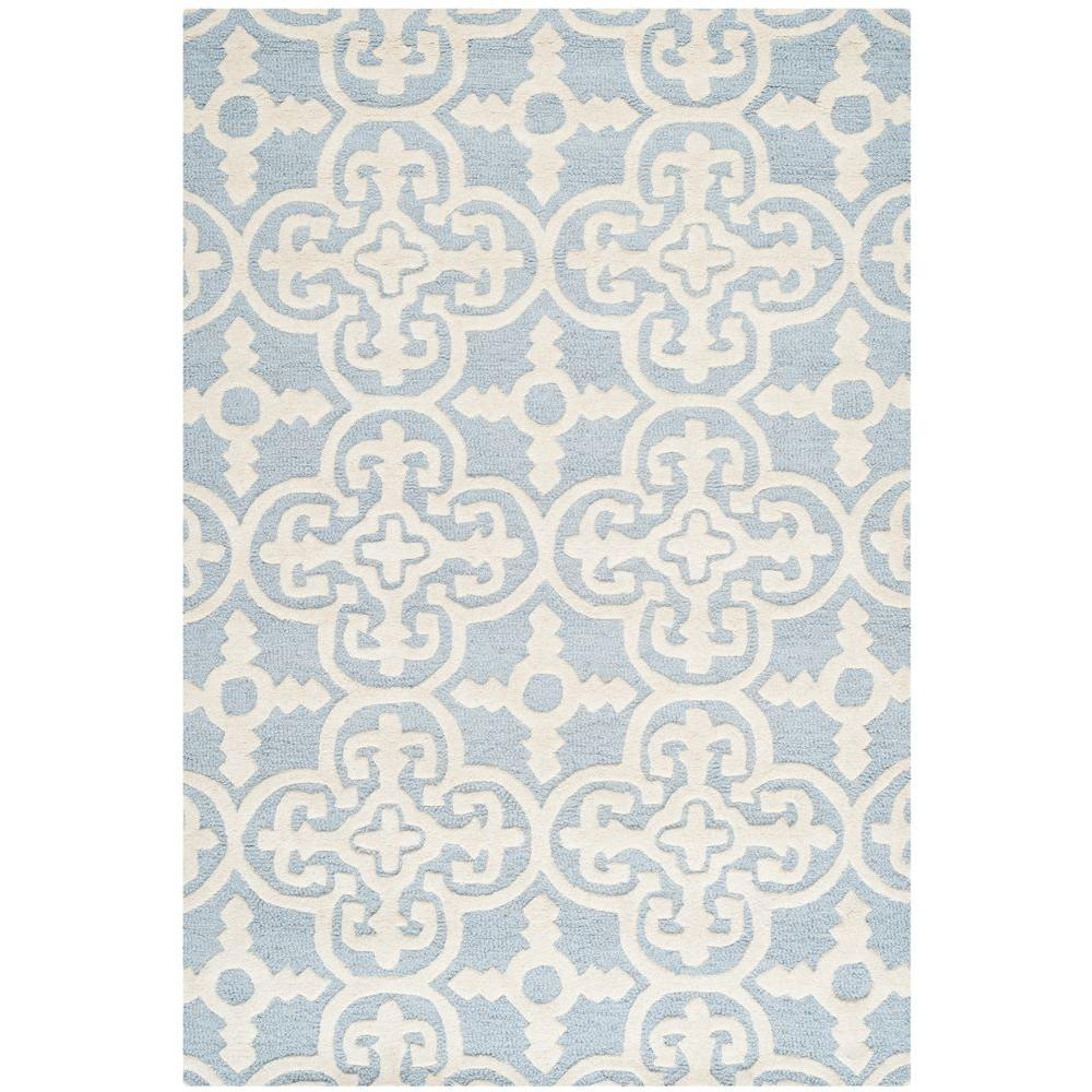 Moroccan Scroll Tile Light Blue Handmade Persian Style: Safavieh Cambridge Ivory/Beige 4 Ft. X 6 Ft. Area Rug