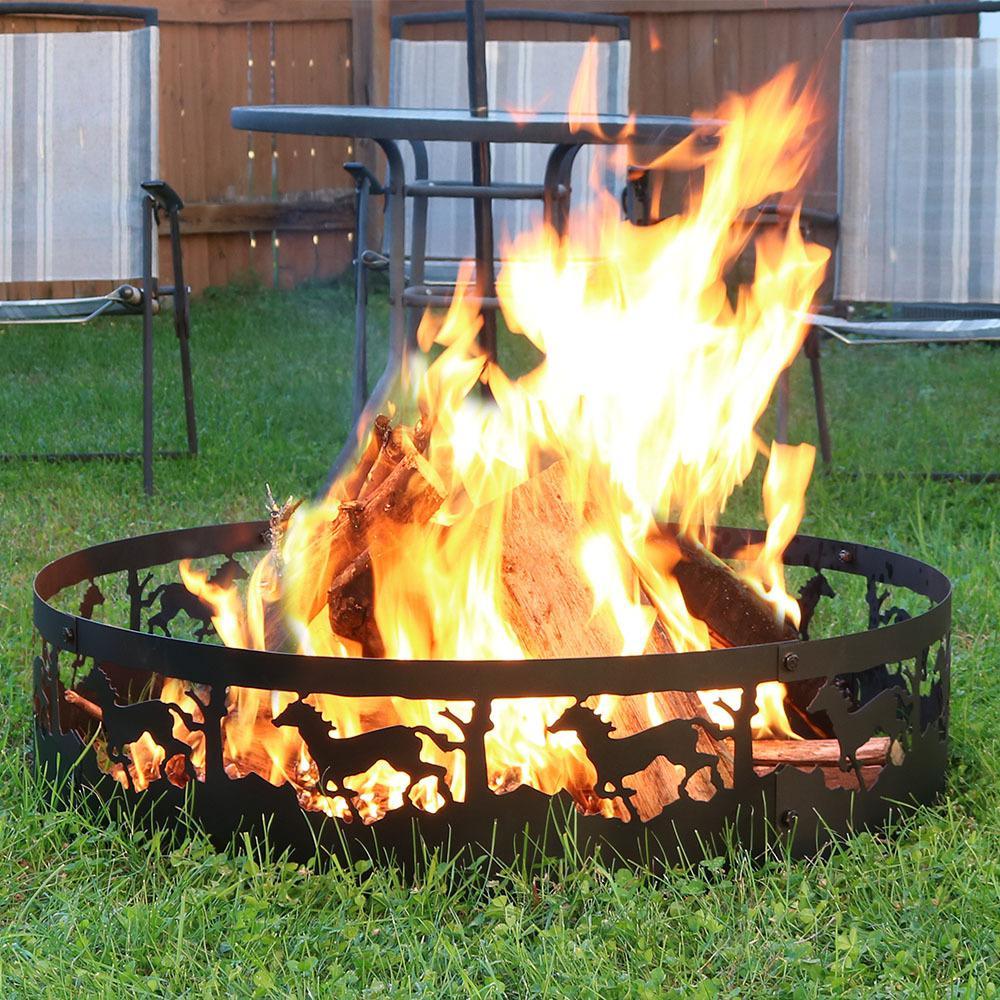 Sunnydaze Decor 36 In Round Steel Wood Burning Running Horse Fire Pit Kit Sm Frh101 The Home Depot
