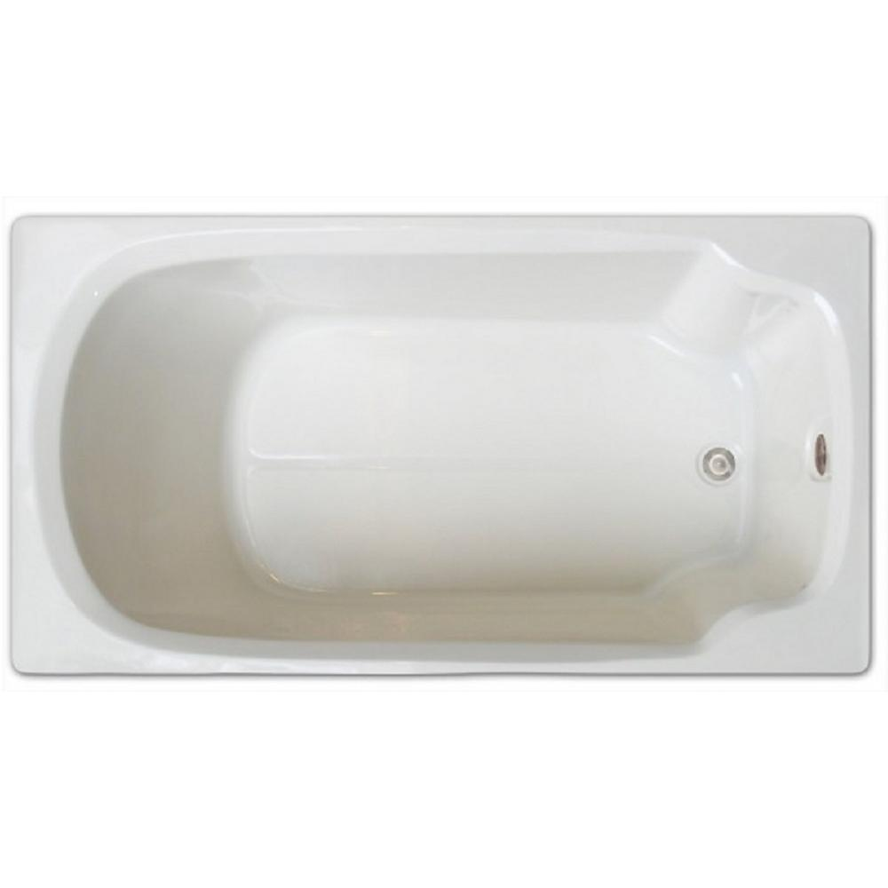 5 ft rectangular drop in non whirlpool bathtub in white for 5 ft tub dimensions