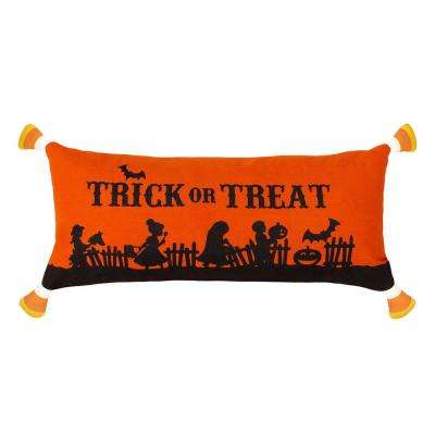 Trick or Treat Candy Corn Halloween Pillow