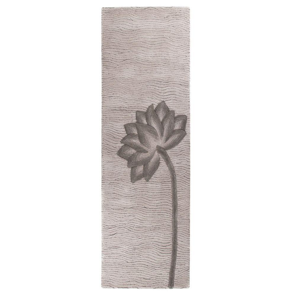 Home Decorators Collection Blooms Gray and Gray 2 ft. 6 in. x 10 ft. Runner