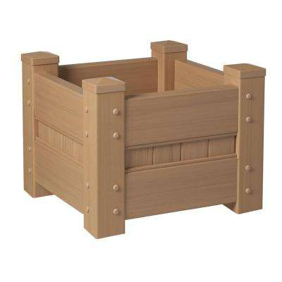 24 in. Square Natural Cedar Vinyl Planter Box