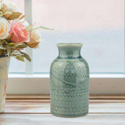 4.75 in. Ceramic Small Vase with Detail in Worn Turquoise