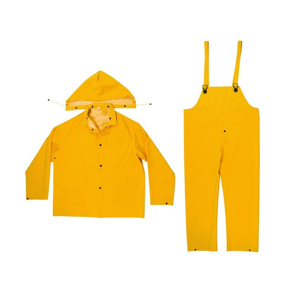 Size Large 0.35 mm PVC/Polyester Yellow Rain Suit (3-Piece)