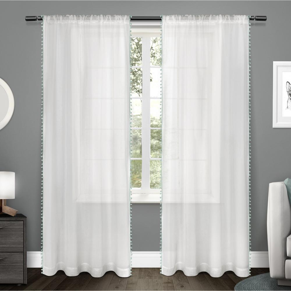 Pom Pom 54 in. W x 84 in. L Sheer Rod Pocket Top Curtain Panel in Seafoam (2 Panels)