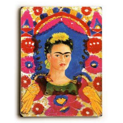 "9 in. x 12 in. ""Mexico Frida Kahlo Senorita Fiesta Poster"" by Freida Kalo ""Solid Wood"" Wall Art"