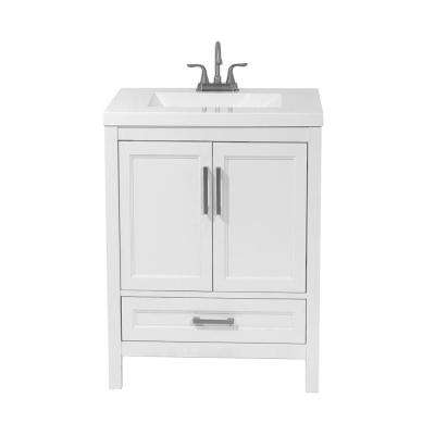 Salerno 25 in. Bath Vanity in White with Cultured Marble Vanity Top in White with White Basin