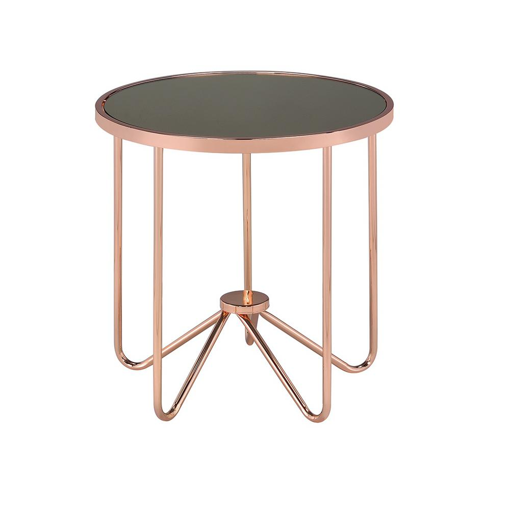 Acme Furniture Alivia Rose Gold And Smokey Glass Top End Table 81842