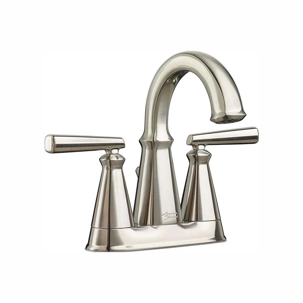 American Standard Edgemere 4 in. Centerset 2-Handle Bathroom Faucet with Metal Speed Connect Drain in Brushed Nickel