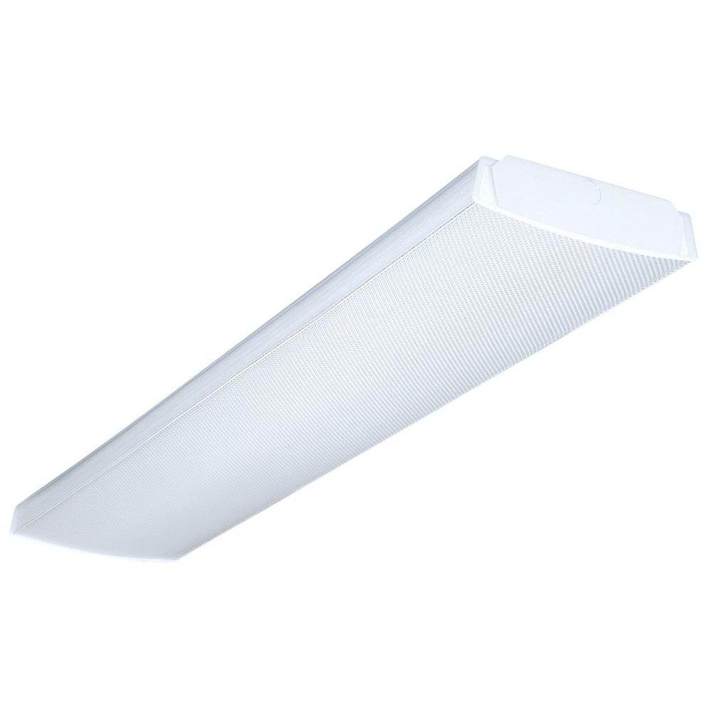 Fluorescent flushmount lights lighting the home depot wrap multi volt 2 light white ballast ceiling flushmount arubaitofo Image collections