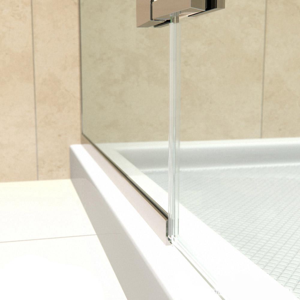 DreamLine Unidoor-X 46 in  W x 30-3/8 in  D x 72 in  H Frameless Hinged  Shower Enclosure in Brushed Nickel