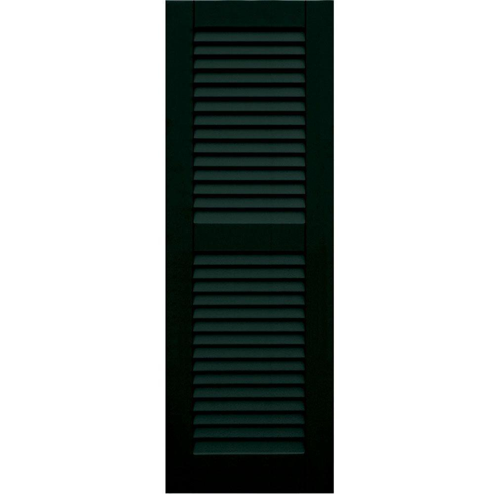 Winworks Wood Composite 15 in. x 44 in. Louvered Shutters Pair #654 Rookwood Shutter Green