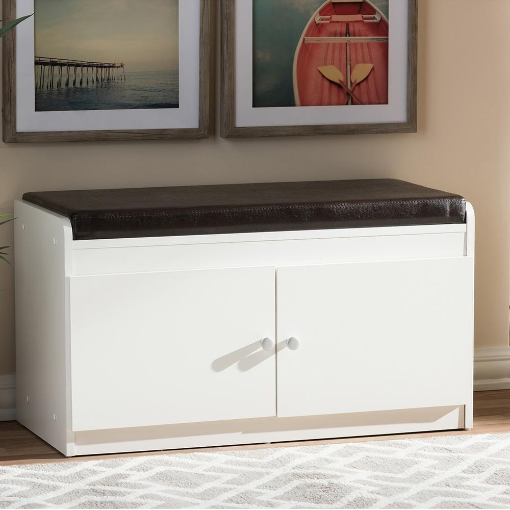17 in. Margaret Modern and Contemporary White Wood 2-Door Shoe Cabinet