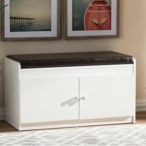 Baxton Studio 17 inch Margaret Modern and Contemporary White Wood 2-Door Shoe Cabinet with Faux Leather Seating Bench by Baxton Studio