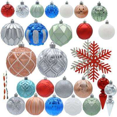 Snowtop Dazzle Assorted Ornament Set - Christmas Ornaments - Christmas Tree Decorations - The Home Depot
