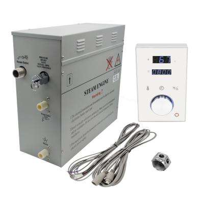 Superior 9kW Deluxe Self-Draining Steam Bath Generator 2 Digital Programmable Controls in White and Chrome Steam Outlet