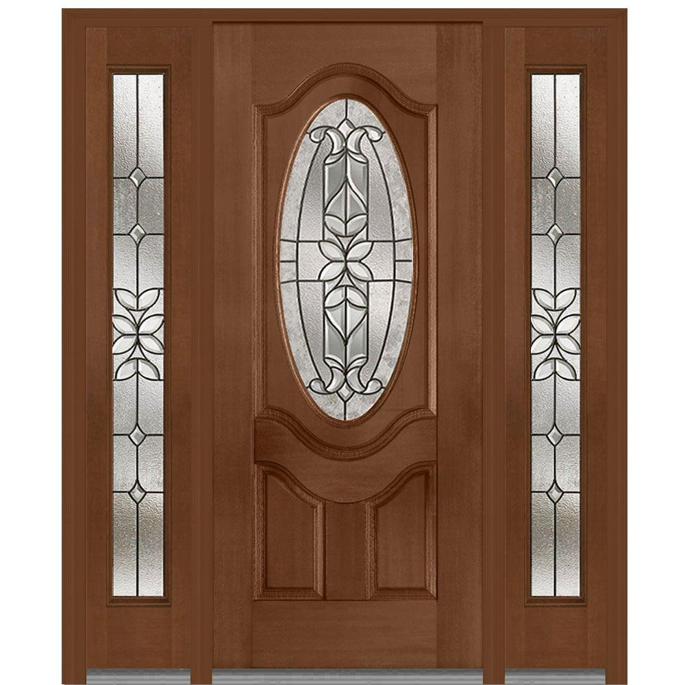 MMI Door 64.5 in. x 81.75 in. Cadence Decorative Glass 3/4 Oval Finished Fiberglass Mahogany Exterior Door with Sidelites
