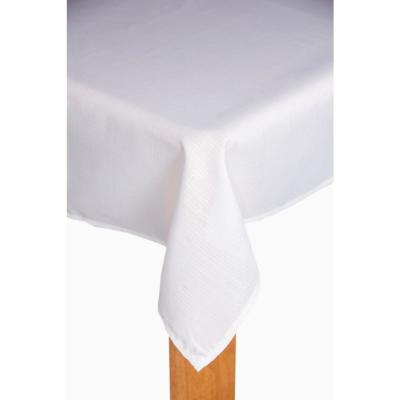 Oxford 60 in. x 84 in. White 100% Polyester Tablecloth