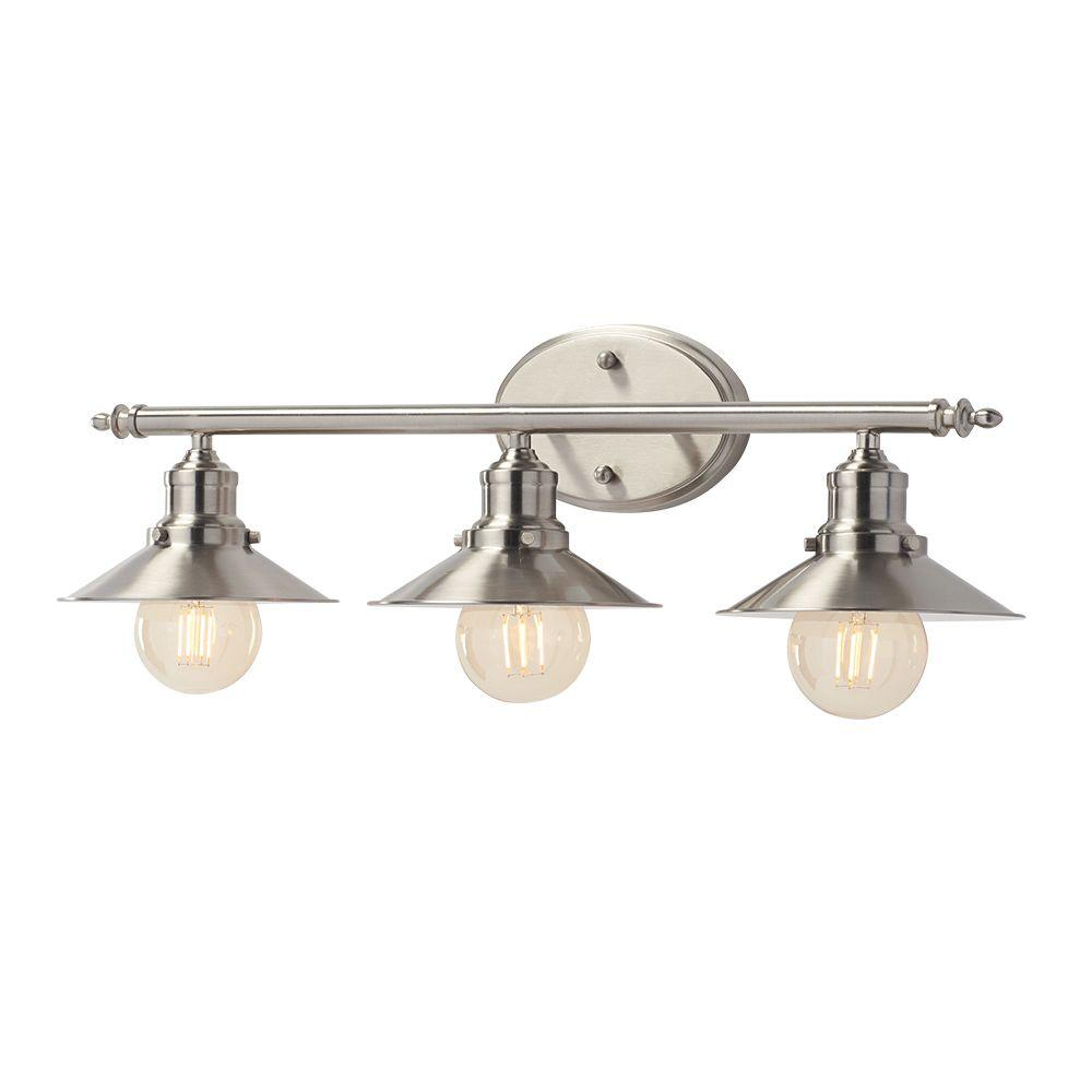 3-Light Brushed Nickel Retro Vanity Light with Metal Shades - Vanity Lighting - Lighting - The Home Depot