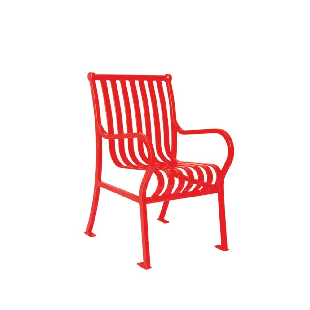 Ultra Play 2 ft. Hamilton Red Portable Vertical Slats Commercial Park Chair with Arms Surface Mount