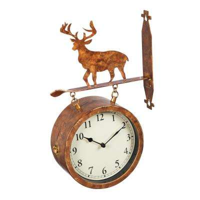 2-Sided Outdoor Wall Clock and Thermometer with Deer Icon
