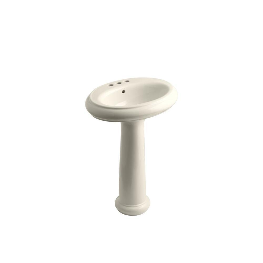 KOHLER Revival Pedestal Combo Bathroom Sink in Almond