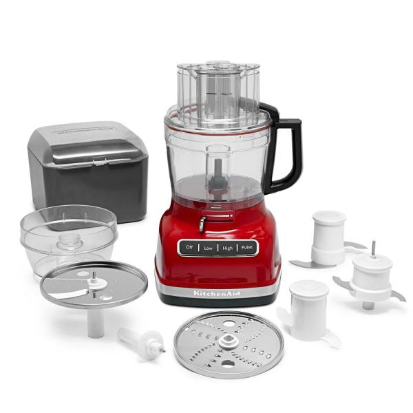 Kitchenaid Exactslice 11 Cup 3 Speed Empire Red Food Processor Kfp1133er The Home Depot