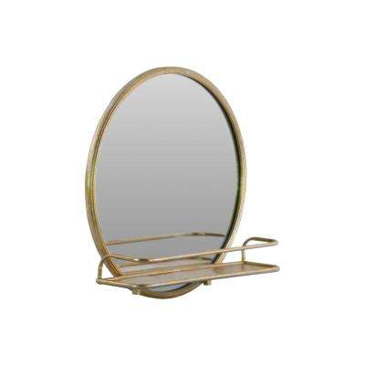 27.25 in. x 27.25 in. 1 Shelf Metal Wall Shelf and Round Gold Coated Mirror