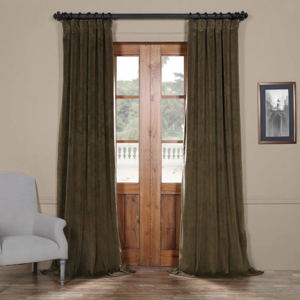 Signature Hunter Green Blackout Velvet Curtain - 50 in. W x 108 in. L