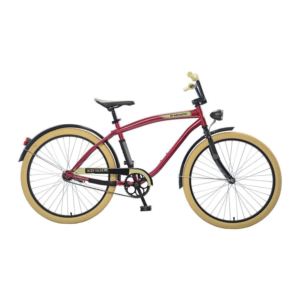 Breakwater Cruiser 26 in. Wheels Oversized Frame Men's Bike in Maroon