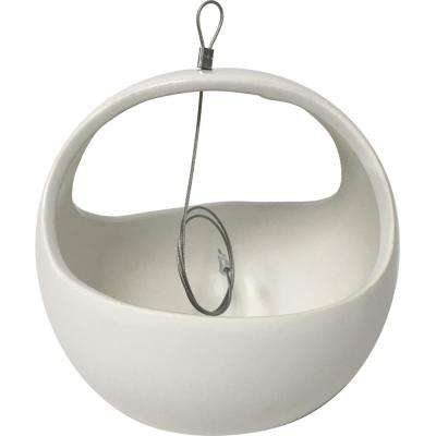 Basket 4-1/2 in. x 4-1/2 in. Matte White Ceramic Hanging Planter